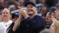 ORLANDO, FL - MARCH 16:  Actor Bill Murray reacts during the game between the Xavier Musketeers and the Maryland Terrapins in the first round of the 2017 NCAA Men's Basketball Tournament at Amway Center on March 16, 2017 in Orlando, Florida.  (Photo by Mike Ehrmann/Getty Images) ORG XMIT: 686515181 ORIG FILE ID: 654239962