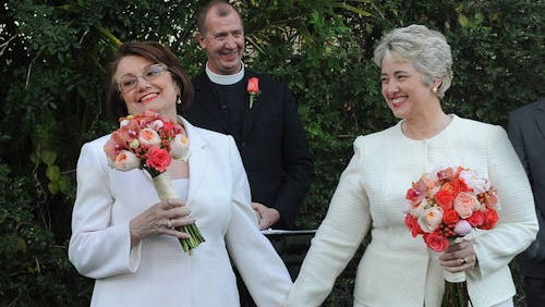 Houston Mayor Annise Parker, right, and Kathy Hubbard get married in Palm Springs, Calif.