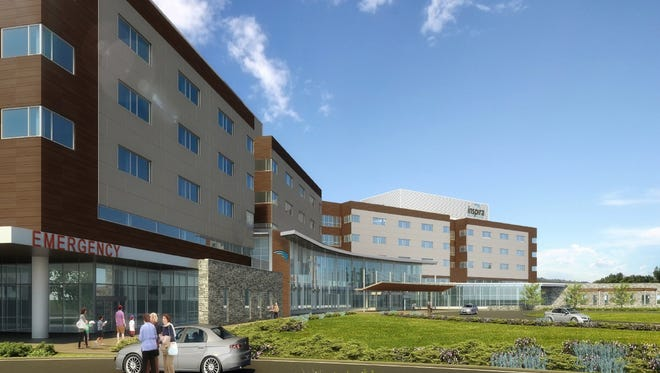 Inspira Health Network's rendering of a proposed hospital in Harrison Township at Routes 322 and 55 near Rowan University.