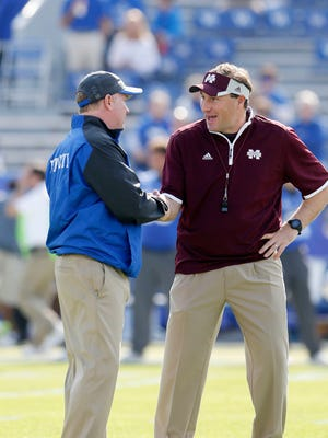 Mississippi State coach Dan Mullen and Kentucky's Mark Stoops tried to hype their matchup on Saturday.
