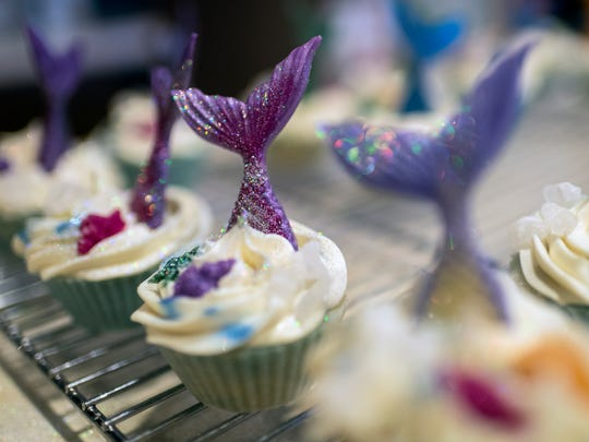 A fresh batch of mermaid cupcake soaps sit out after being handcrafted by Sara Rhoades inside her Evansville home Wednesday. She is also a jewelry maker and has been selling her soap and jewelry creations at The Historic Newburgh Farmer's Market and New Harmony farmers market.