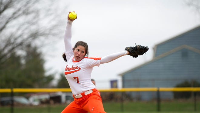 Cherokee's Karly Messina winds up during Tuesday's game against Camden Catholic. Messina hurled a no-hitter as the Chiefs won, 10-0.