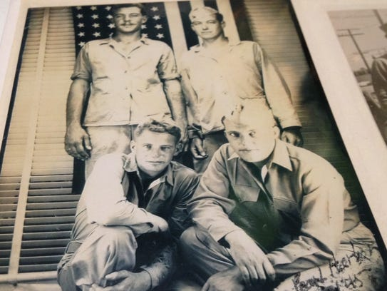 Hugh Mobley, top right, was one of the first Marines