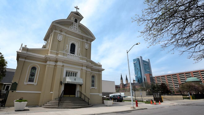 The exterior of Holy Family Church is seen on Thursday, May 12, 2016, in Detroit.