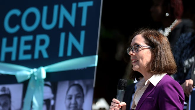 Gov. Kate Brown speaks during the official release of the Women's Foundation of Oregon's Count Her In report at the Oregon State Capitol in Salem on Wednesday, Sept. 21, 2016. The report compiles national, state and local data, as well as personal stories about the challenges and successes women and girls experience in Oregon.