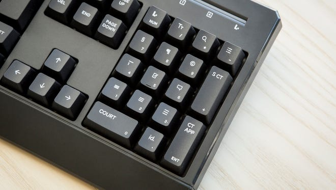 Brian Potts'' keyboard is designed specifically with keys corresponding to certain symbols, words and phrases lawyers find themselves typing over and over.