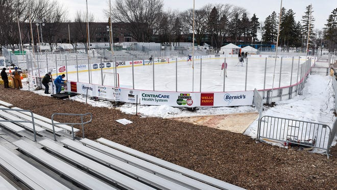 Crews are finishing the final preparations Thursday, Jan. 18, for Hockey Day Minnesota at Lake George.
