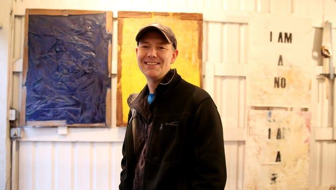 Artist Matthew Boulay in his home studio in Salem on Wednesday, Jan. 24, 2018.