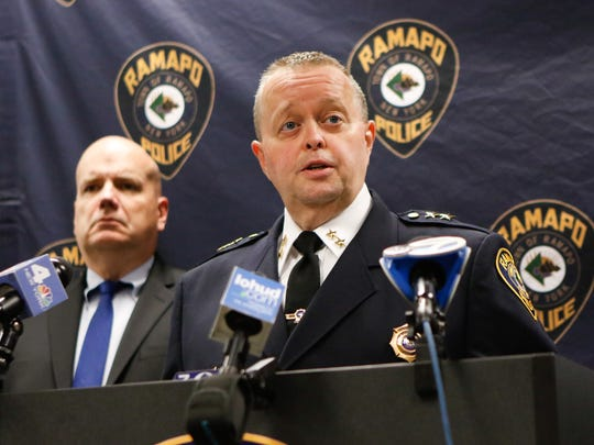 Ramapo Police Brad Weidel holds a press conference