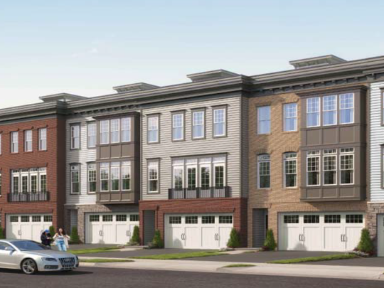 A rendering of what the residential units behind the proposed town center in Middletown may look like.