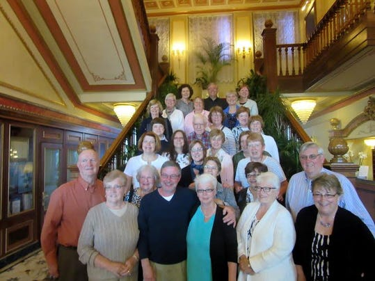 Members of the York County Chapter of the Pennsylvania Association of School Retirees are shown on the Stresa Regina Palace Hotel steps. Front row, from left, Glenn and Bonny Seifert, Larry and Susan Marks, Martha Spillman, Jane Young; second row, Lee Pucillo, Joy Shoffner, Janet Striebig, Jim Young; third row, Lucinda Lobach, Pam Leh, Sharon O'Connell; fourth row, Deb Weidman, Pat Bishard, Andrea Rauls; fifth row, Lolly Dick, Gerald Laughman, Sandy Roberts Marsha Haldeman, Delores Koons; sixth row, Bonnie Stick, Alice Hartenstein, Donna Hake, Sue Ayres; back row, Patricia Burakow, John Mohr and Anita Beck.