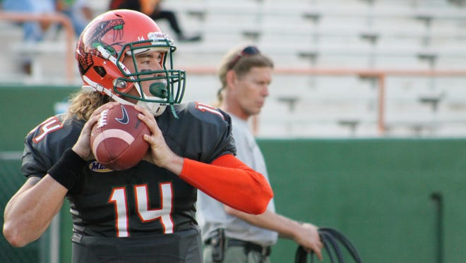 Redshirt sophomore quarterback Ryan Stanley warms up before FAMU's game against North Carolina Central.