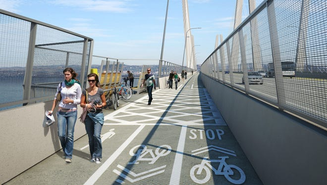 A rendering of the bike-walking path coming with the new Tappan Zee Bridge in 2018. South Nyack officials have recommended a parking plan to accommodate visitors.