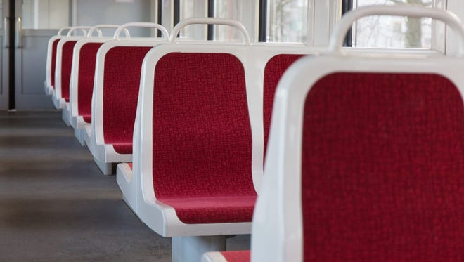 Empty seats on commuter train