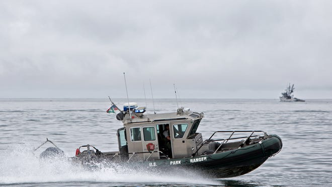 A U.S. Park Ranger boat circles during a live demonstration held at the Coast Guard Station Channel Island Harbor in Oxnard.