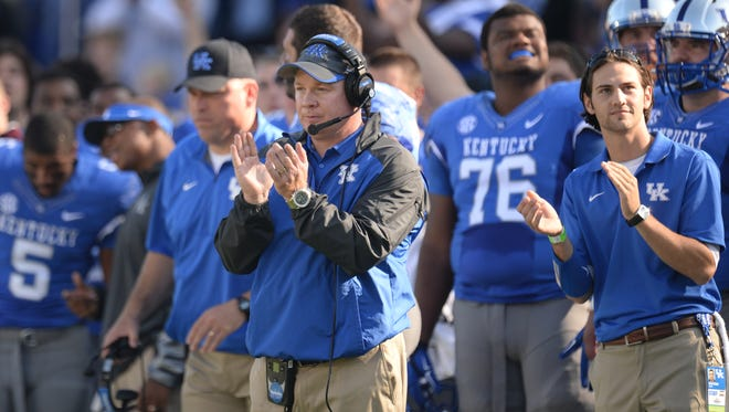 UK head coach Mark Stoops during the first half of the University of Kentucky football game against Mississippi State in Lexington, Ky. Saturday, October 25, 2014.