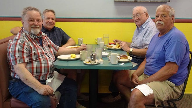 From left front Phil Dannemiller, Steve Mash, Don Perry and Paul Lepp are regulars at Jane's Family Restaurant in Jackson Township. The restaurant has been in the Cable Shores Plaza for over 18 years.