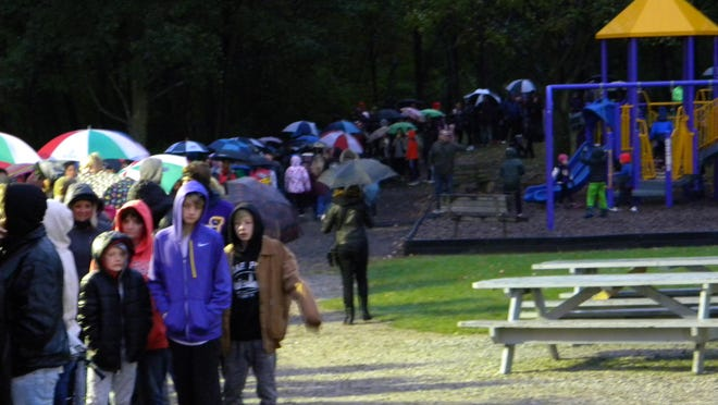 Jackson Township's annual Haunted Hayride usually gets thousands of people lined up to take a ride through a once a year haunted South Park. This year's event has been canceled because of health guidelines for COVID. In this photo, people line up for the hayride during the 2018 event.