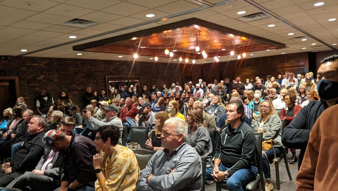 Illinois attorney Tom DeVore, who addressed this crowd of more than 100 people on Oct. 1 at Giovanni's in Rockford, has sent Winnebago County Public Health Administrator Sandra Martell a cease and desist letter advising her to stop enforcing Gov. JB Pritzker's COVID-19 mitigation orders.