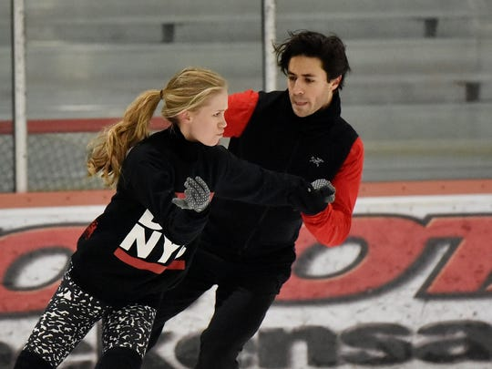 Canadian Olympic ice dancers Kaitlyn Weaver and Andrew Poje practicing at Hackensack's Ice House on Friday, Jan. 19.