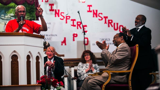 """Stevie Moore, president and founder of F.F.U.N. """"Stop The Killing,"""" delivers a passionate speech about how and why he started his non-profit organization during the Crime Awareness Summit 2017 at Christ Communion Temple at 1519 S. Lauderdale St. on Saturday."""