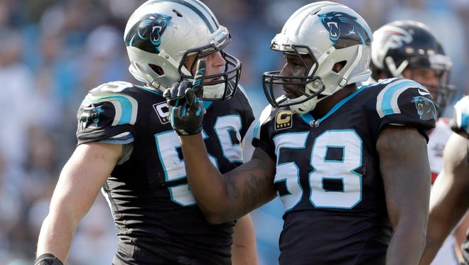LBs Thomas Davis (58) and Luke Kuechly lead the Panthers defense.