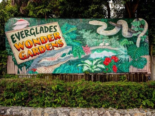This colorful sign on Old U.S. 41 Road entices drivers to stop by and visit the new Everglades Wonder Gardens.