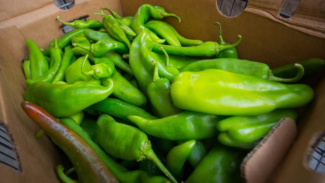 A box of chiles for sale at Albertson's, Wednesday, August 10, 2016. Albertson's customers were able to purchase a box of chile's inside the store and have them roasted outside for free.