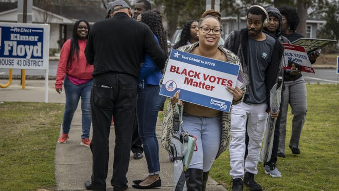Fayetteville State University students and members of the Black Voters Matter organization at the Smith Recreation Center polling site in Fayetteville, N.C., on Tuesday, March 3, 2020. Fayetteville State students were there to vote in North Carolina's Super Tuesday primaries.