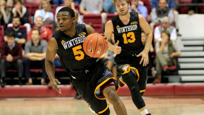 While just 5-7, Winthrop guard Keon Johnson (5) will prove a handful for the Bulldogs.