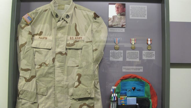 The display case honoring deceased Army SSgt Matt Maupin at the Pentagon.
