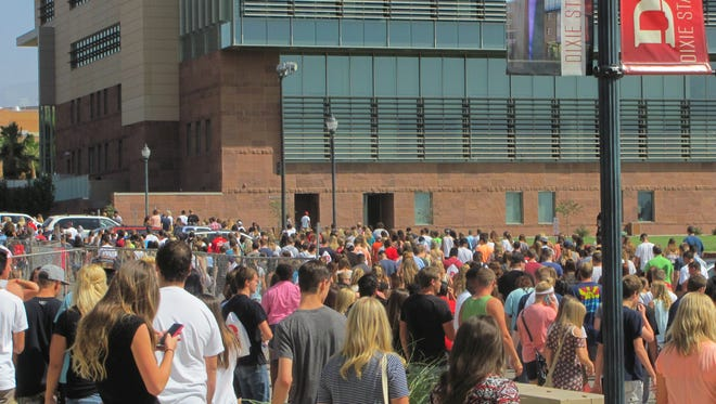 New students file out of the Burns Arena following a freshmen orientation assembly recently at Dixie State University