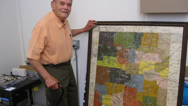 An historical demographic map of New Mexico was donated by William (Bill) Condron, a retired forensic specialist for the Arizona Police Department. The map is elaborately detailed in information regarding the transportation systems, topographical attributes and historical sites presented in the different counties, all designated with different colors. With Mr. Condron's calligraphy talent,  titles were written. Extensive time and research went into this project as Mr. Condron finished it with time consuming pressed-on lettering details. Come and see this very interesting map displayed in the front lobby at the Deming-Luna-Mimbres Museum located at the corner of Hemlock and Silver Avenue.