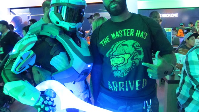 Reunald Jones, 35, participates in a Halo 5 launch party in Los Angeles.