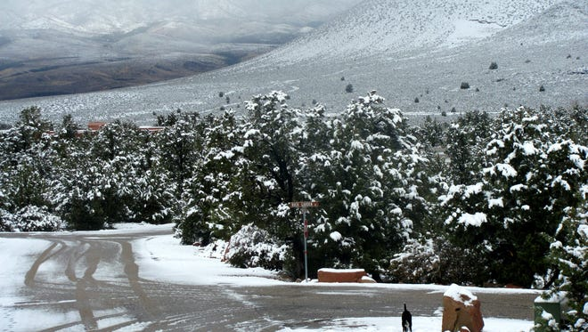Mid-November snow covered the roadways in Dammeron Valley on Monday, Nov. 16, 2015.