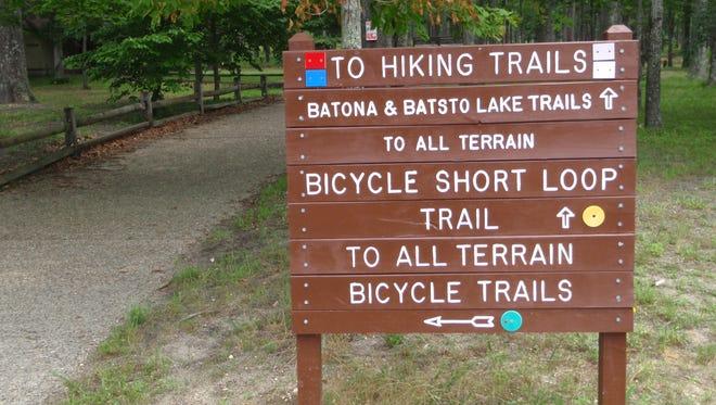A mountain biking trail sign at the Wharton State Forest all-terrain trail.