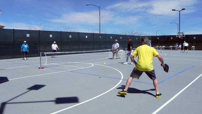 Competitors play pickleball in the Mesquite Senior Games at Sun City in 2011.