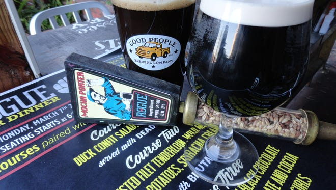 Good People Brewing's Coffee Oatmeal Stout, left, and Rogue's Mocha Porter.