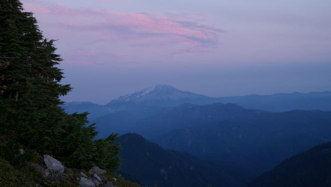 Mount Jefferson at Sunset from Battle Ax Mountain in the Bull of the Woods Wilderness.