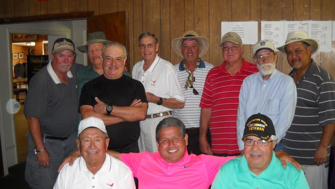 The El Paso/Las Cruces Old Timers Golf Group played its monthly tournament at the Dos Lagos Golf Club in Anthony, N.M., on June 13. The winning team players and the club they represent are: Standing, from left: First place, James Hargrove, Horizon; Joe LaRock, Dos Lagos; Avelino Martinez, Ascarate; and Bob Porter, Picacho Hills. Second place, Mike Ivey, Dos Lagos; Jim McCain, Vista Hills; Duane Beach, Ascarate; and Paul Tarango, Lone Star. Seated, from left: Closest to the pin on par threes, Eddie Chavez, Sonoma Ranch; Danny Jurado, Horizon; and Lupe Mendez (won two), Sonoma Ranch.