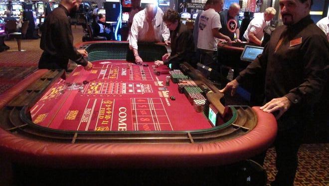 A craps game is underway at the Golden Nugget casino in Atlantic City in June.