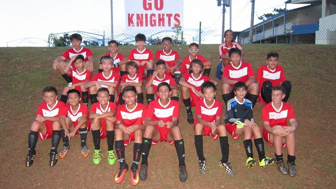 The St. John's Knights won the championship for the Middle School Boys' Soccer League. Front row, from left: Aidan Johnson, Jason Palomares, Brock Larson, Matthew Sevilla, Caleb Espaldon, Albert Liu, Thomas Ysrael and Andrew McCormic. Middle row, from left: Benjamin Borja, Daniel Min, Andrew Stenson, Vance Ganeb, Alexander Stenson, Derrick Yen and Alexander Slomka. Back row, from left: Joon Ho Lee, Taiga Simon, Ryan Lee, Adam Cruz, Jensen Giger and coach Kyung Shipman.