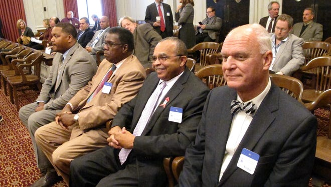 Atlantic City Councilmen, from left, Marty Small, Kaleem Shabazz and William Marsh, and Atlantic City Mayor Don Guardian prepare to testify at a state Assembly hearing in Trenton Wednesday.
