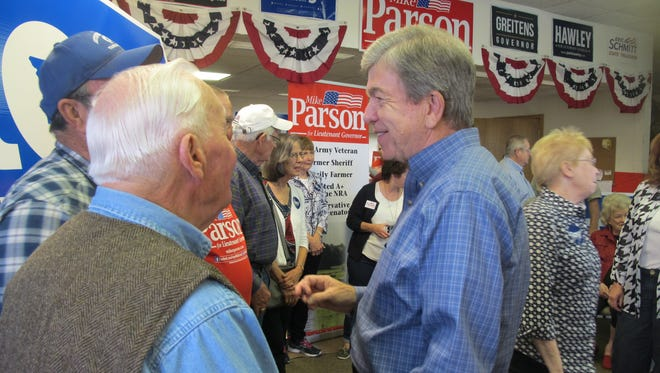 Sen. Roy Blunt, R-Mo., greeted supporters at a GOP campaign office in Bolivar on Saturday.