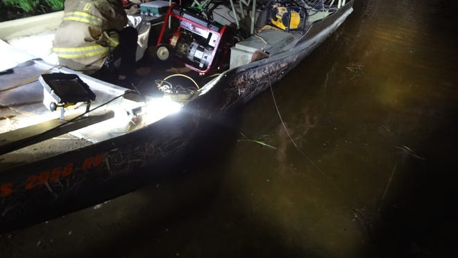 Three people were injured Thursday night when an air boat they were riding in crashed into a tree on the flooded portion of the Beaver Dam River in the township of Shields in Dodge County.