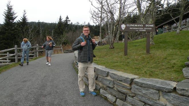 Mikah Meyer, shown at Clingman's Dome, made the Great Smoky Mountains National Park stop No. 248 on his journey to visit all 417 national park sites.