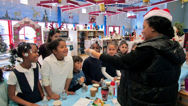 Staff and parents at School No. 4 transformed the school's reading room into a Winter Wonderland for their recent holiday bazaar.