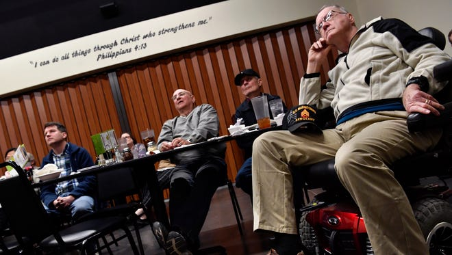 Monroe Nevils watches with a group of Taylor County Republicans as President Donald Trump delivers his first State of the Union address Tuesday night Jan. 30, 2018. The group sat in one of the private dining rooms at Potter's Pizza in Abilene.