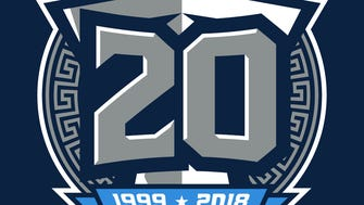 The Titans are planning to wear this logo as a small helmet decal in 2018 to commemorate their 20th season since re-branding from the Oilers to the Titans.