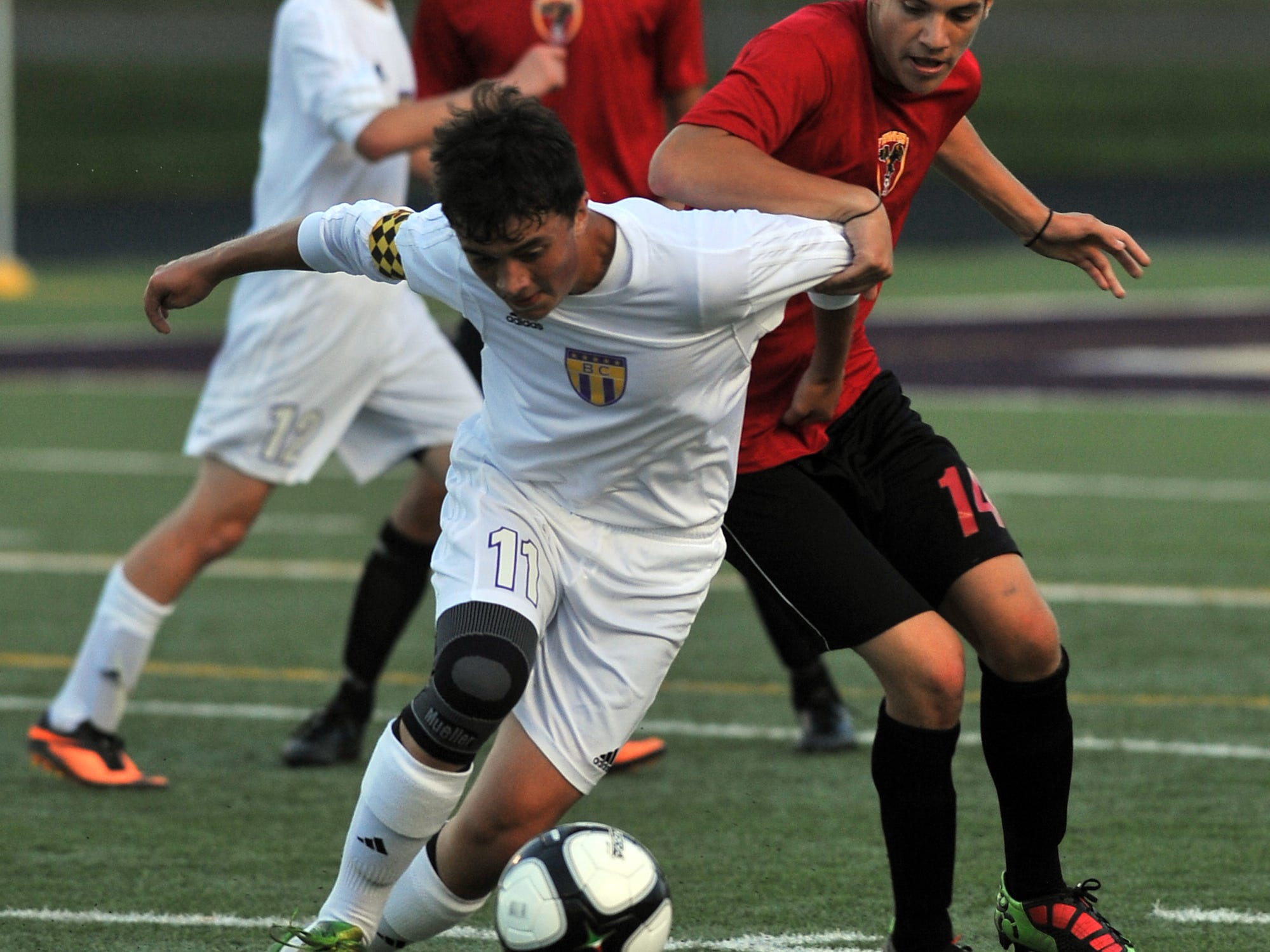 Bloom-Carroll's McCoy Patino races toward the ball during a nonleague game Thursday against Big Walnut.